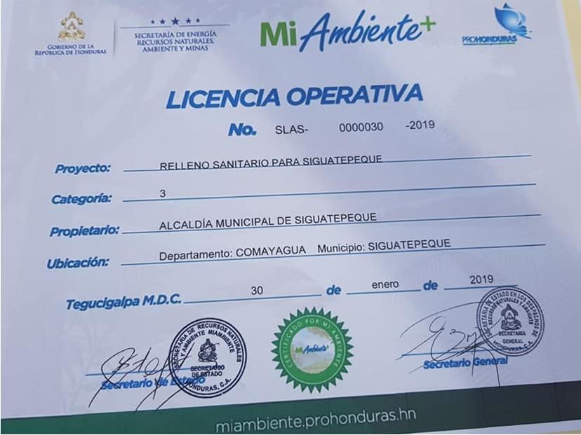 Siguatepeque ya cuenta con licencia ambiental operativa