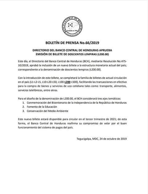 Banco Central de Honduras emitirá billete de 200 lempiras