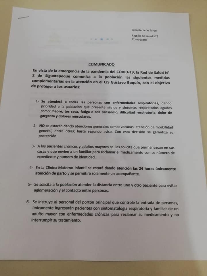 Conozca el contenido del comunicado emitido por la directora de la Red de Salud #2″, Olivia Esperanza Pereira en Siguatepeque