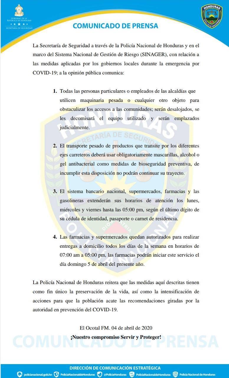 Último comunicado de la Secretaría de Seguridad.