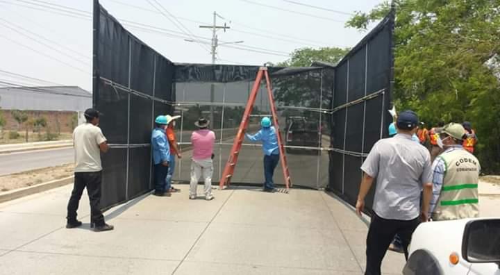 Instalan arco para bioseguridad en la entrada de la ciudad de Comayagua