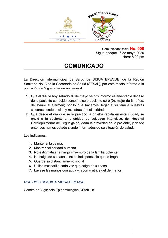 La Dirección Intermunicipal de Salud de SIGUATEPEQUE, de la Región Sanitaria No. 3 de la Secretaría de Salud (SESAL) informa sobre el nuevo caso de coravirus en Siguatepeque