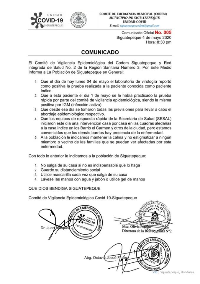 Comité de Vigilancia Epidemiológica del Codem Siguatepeque y Red integrada de Salud No. 2 de la Región Sanitaria Número 3 oficializa primer caso de coronavirus en el «Altiplano Central»» de Honduras