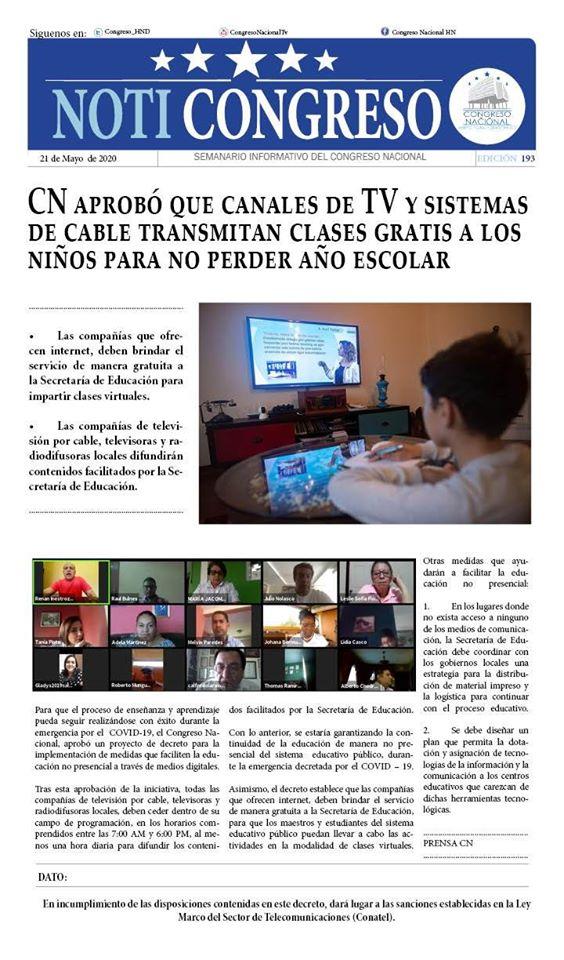 CN aprobó que canales de TV y sistemas de cable transmitan clases gratis a los niños para no perder año escolar
