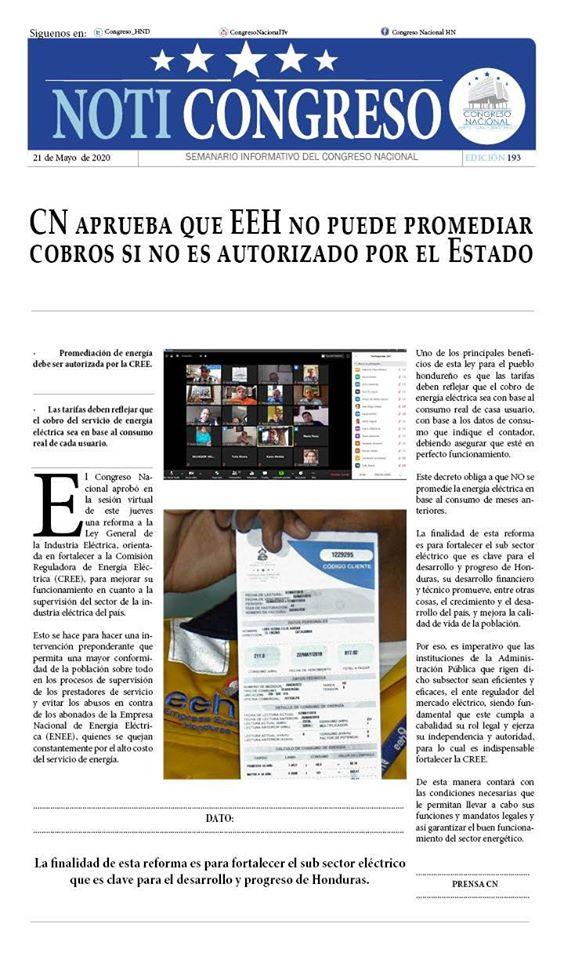 CN aprueba que EEH no puede promediar cobros si no es autorizado por el Estado