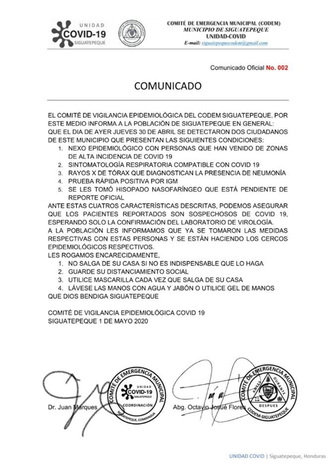 Unidad COVID-19 en Siguatepeque confirma dos casos sospechosos de coronavirus