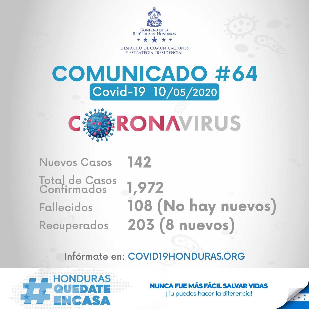 SINAGER reporta 6 casos más de coronavirus en Comayagua