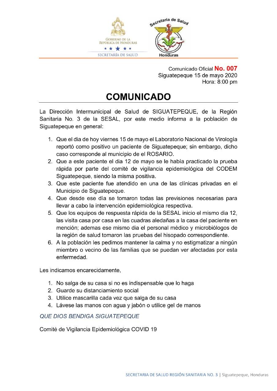 Dirección intermunicipal de Salud de Siguatepeque aclara que caso de COVID-19 que oficializa SINAGER corresponde al municipio de El Rosario