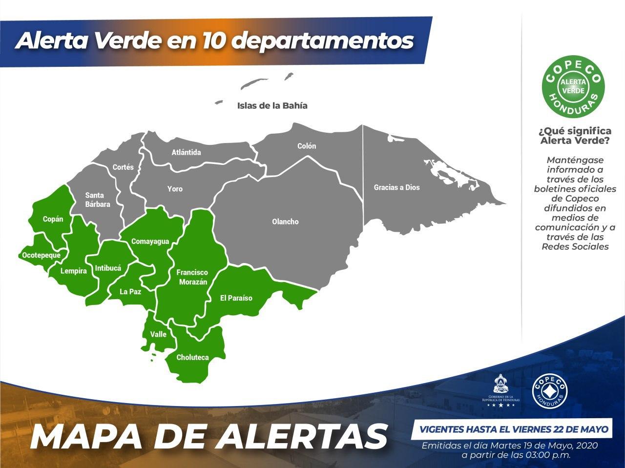 Copeco declara Alerta Verde por 72 horas en 10 de departamentos de Honduras