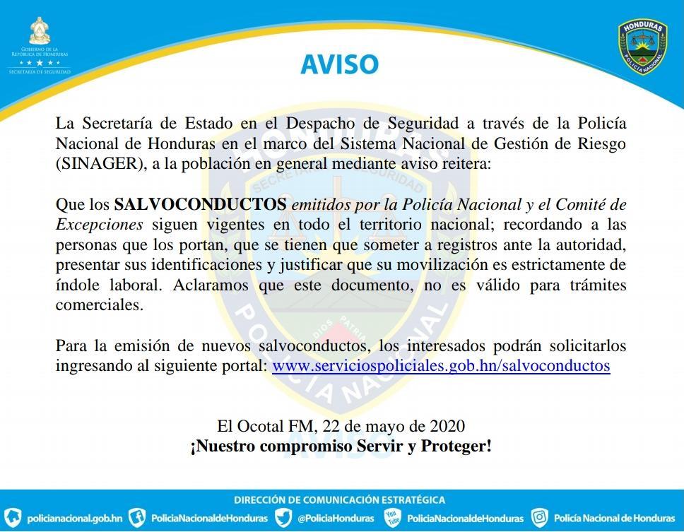 SALVOCONDUCTOS emitidos por la Policía Nacional y el Comité de Excepciones siguen vigentes en todo el territorio nacional