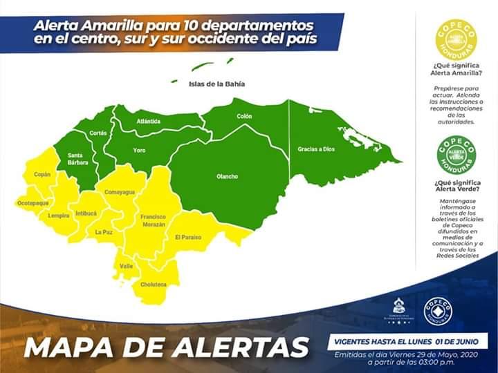 Alerta amarailla para 10 departamentos de Honduras por 72 horas