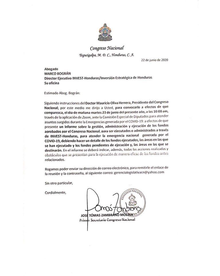 CN cita a director de INVEST-H para brindar informe sobre manejo de fondos aprobados para atender emergencia por COVID-19