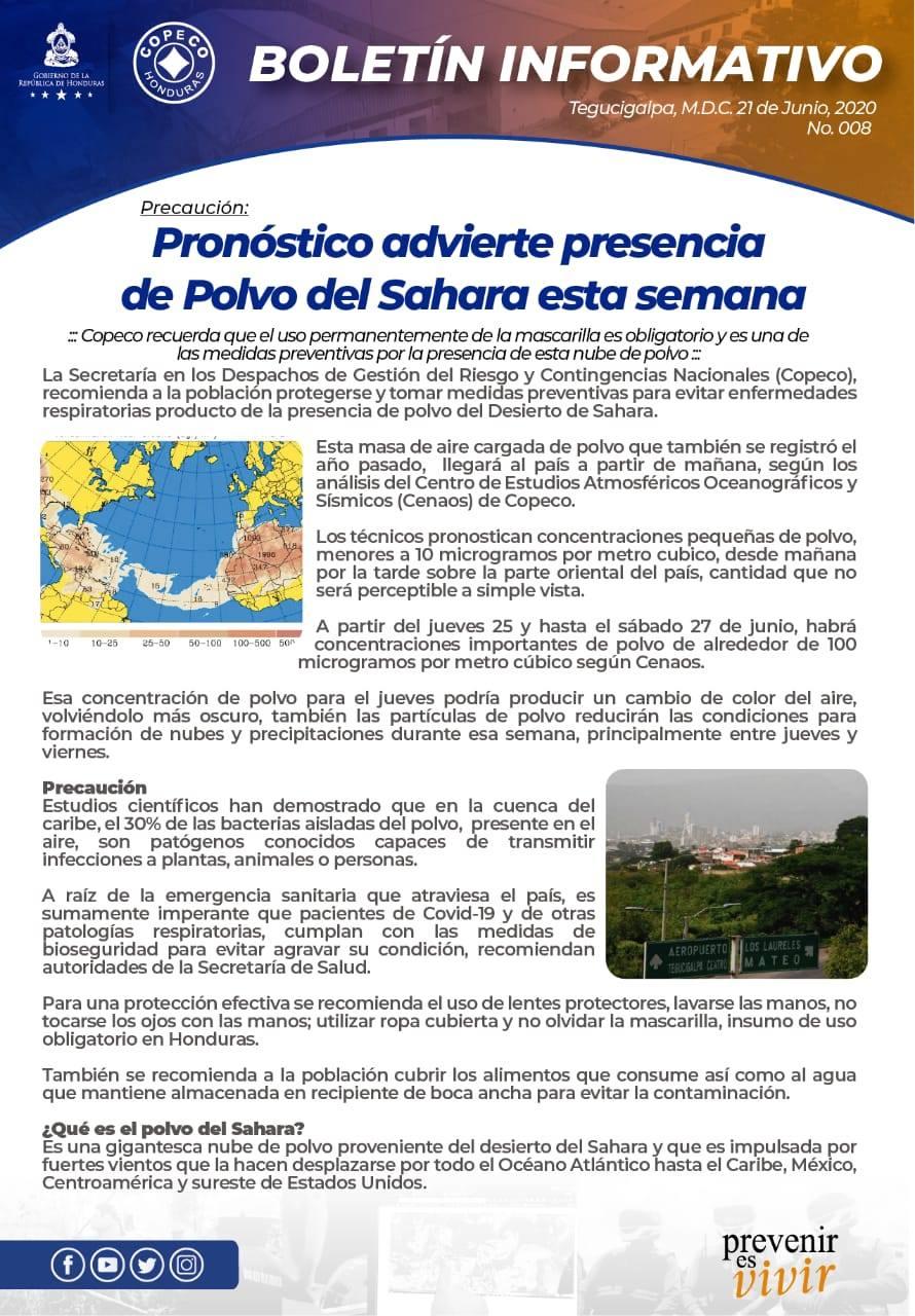 COPECO advierte presencia de Polvo del Sahara esta semana