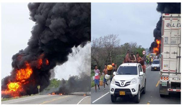 Ocho muertos y más de 40 quemados en explosión de cisterna en Colombia