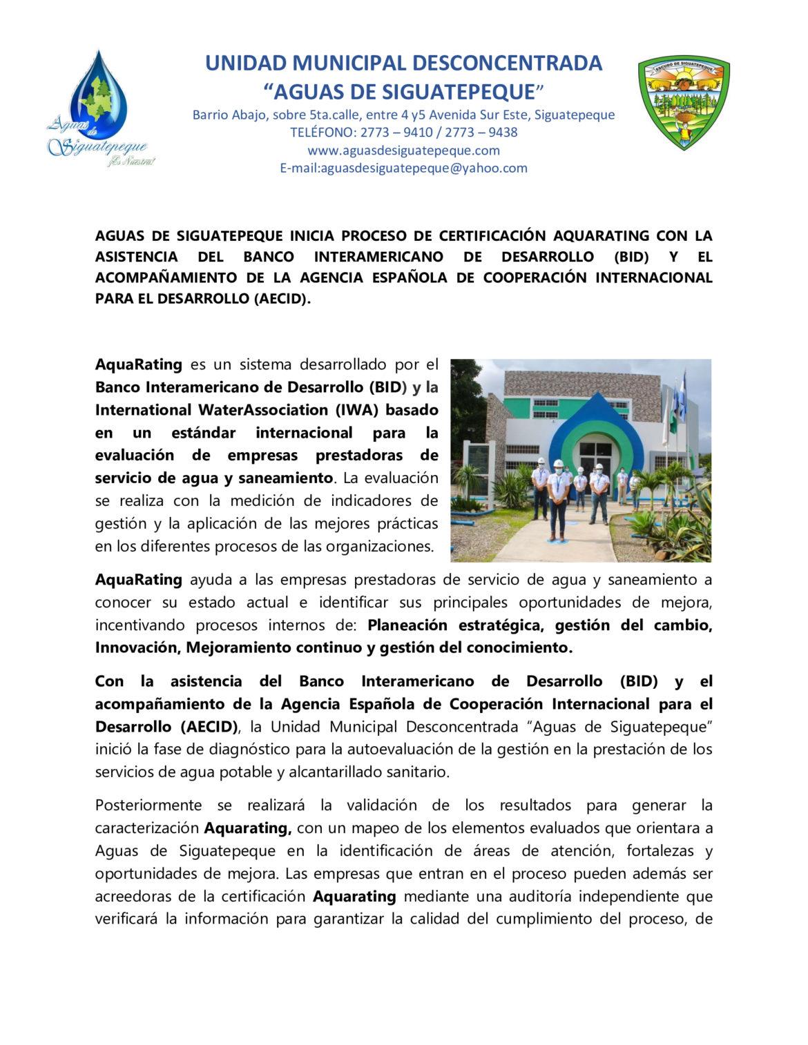 Aguas de Siguatepeque inicia proceso de certificación AquaRating con la asistencia Del Banco Interamericano de Desarrollo (BID) y el acompañamiento de la Agencia Española De Cooperación Internacional para el Desarrollo (AECID).