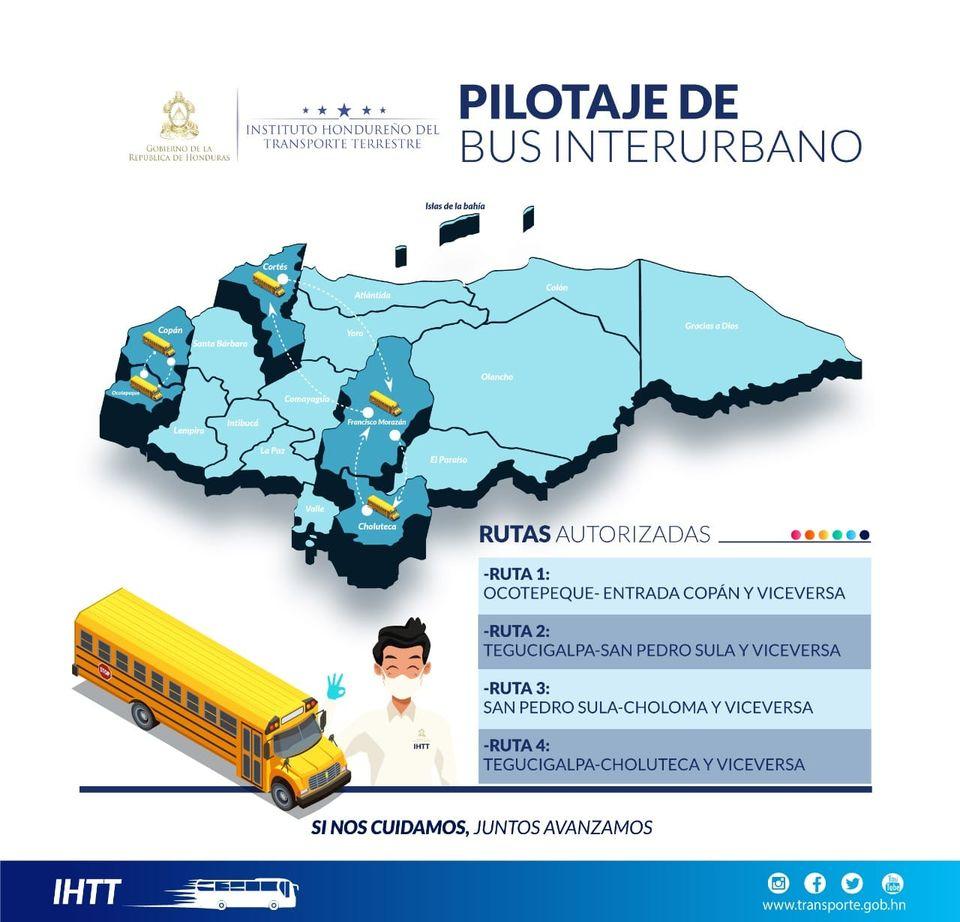 Pilotaje en cuatro rutas interurbanas inicia mañana