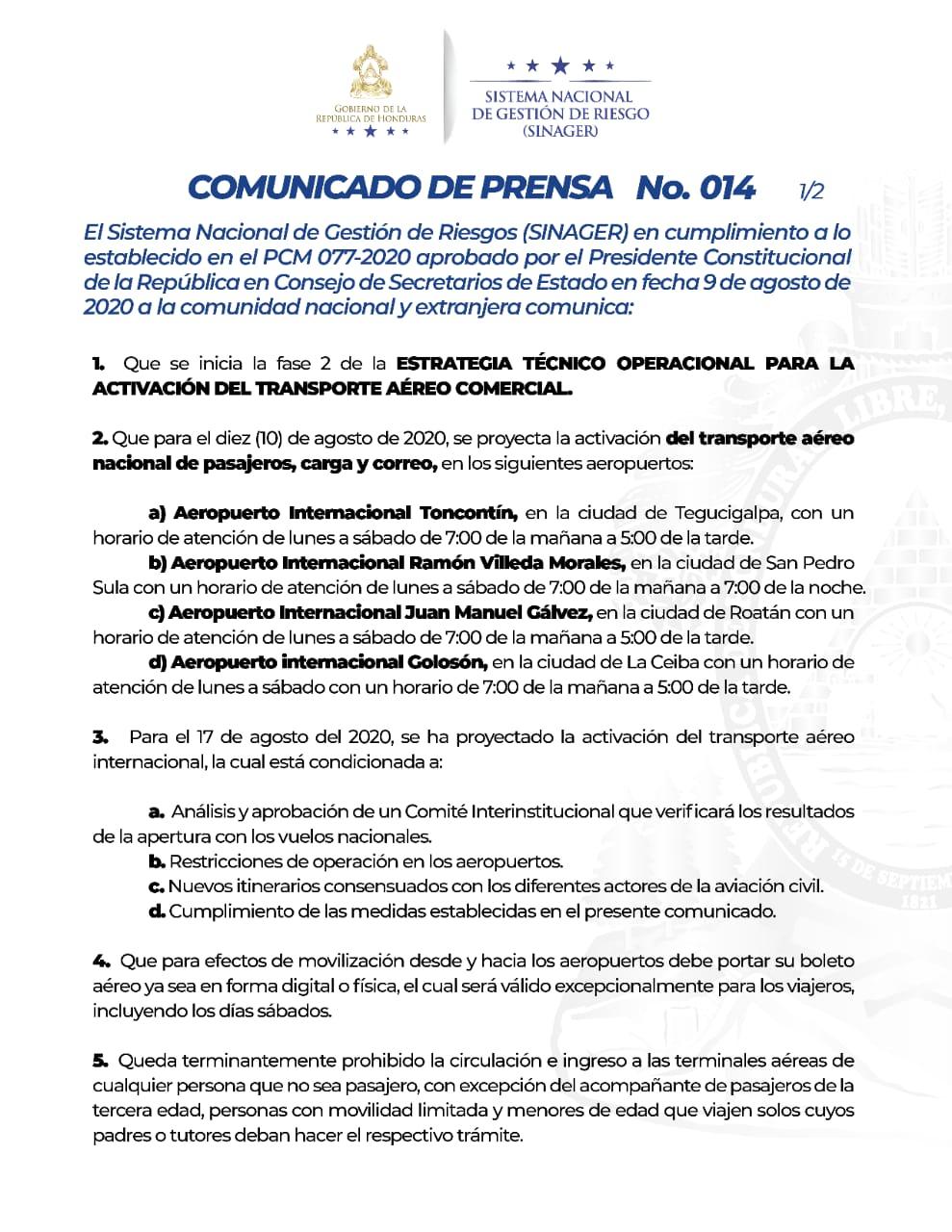 COMUNICADO: PCM 077-2020 del SINAGER