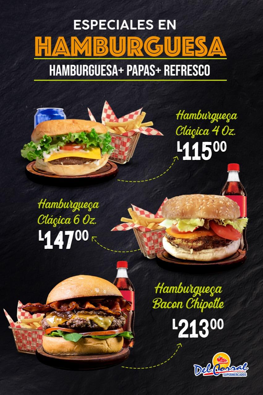 Las deliciosas hamburguesas en Supermercados Del Corral, Pídela.🍔🍟🥤