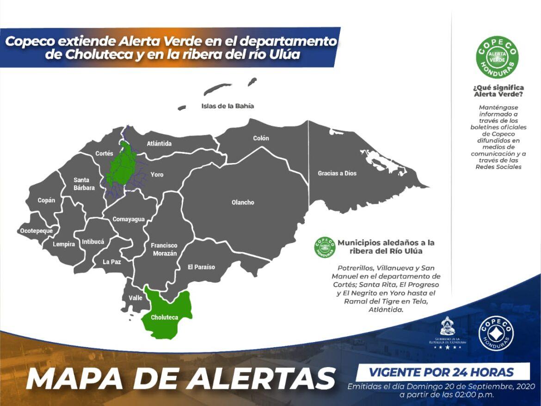Copeco extiende Alerta Verde en el departamento de Choluteca y en la ribera del río Ulúa
