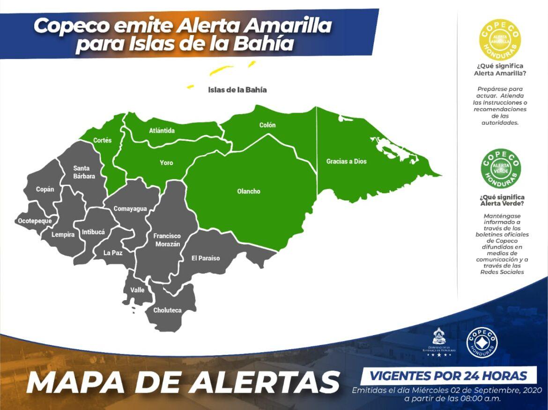 Copeco emite Alerta Amarilla para Islas de la Bahía