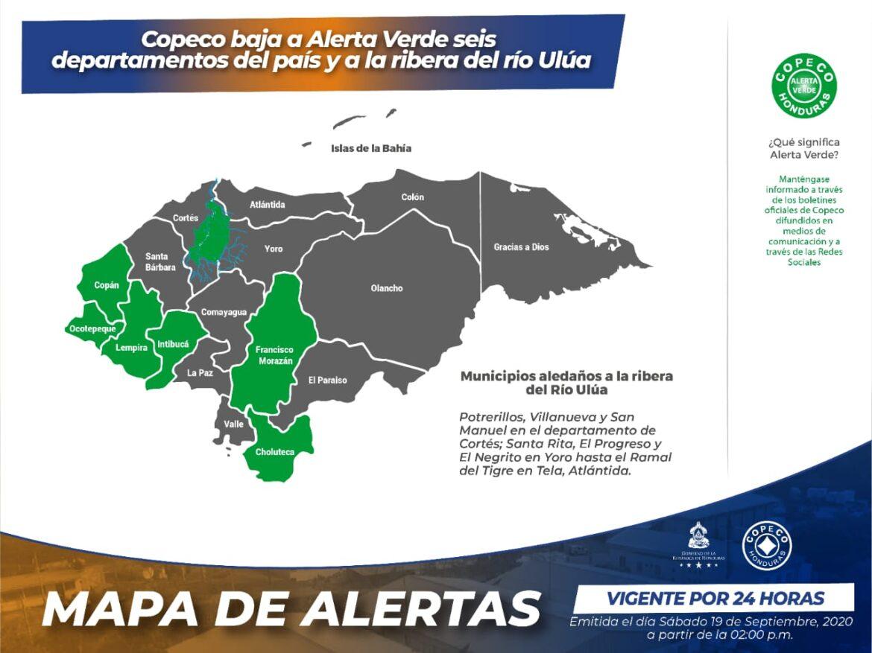 Copeco baja a Alerta Verde seis departamentos del país y a la ribera del río Ulúa