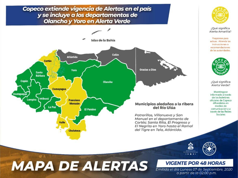 Copeco extiende vigencia de Alertas en el país y se incluye a los departamentos de Olancho y Yoro en Alerta Verde