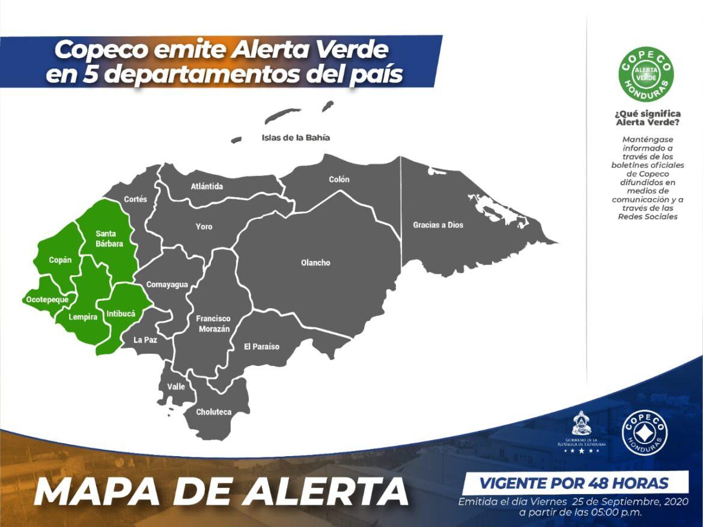 Copeco emite Alerta Verde en 5 departamentos del país