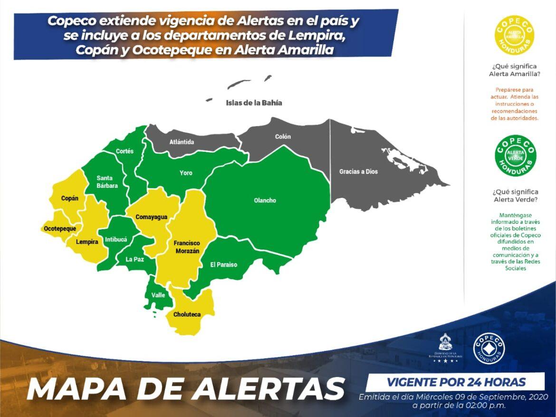 Copeco extiende vigencia de Alertas en el país y se incluye a los departamentos de Lempira, Copán y Ocotepeque en Alerta Amarilla