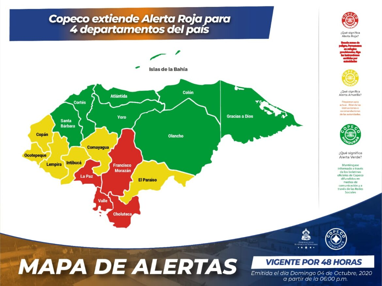 Copeco extiende Alerta Roja para 4 departamentos del país