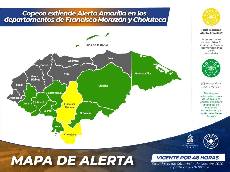 Copeco extiende Alerta Amarilla en los departamentos de Francisco Morazán y Choluteca