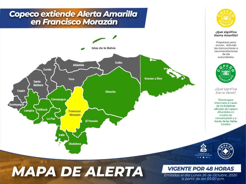 Copeco extiende Alerta Amarilla en Francisco Morazán