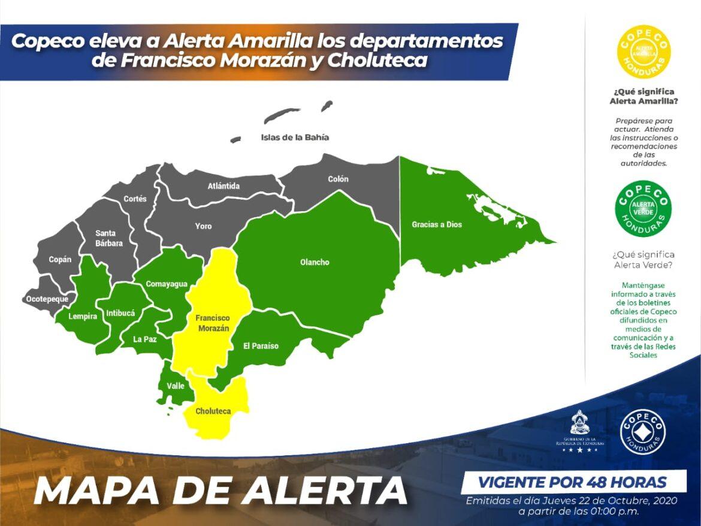 Copeco eleva a Alerta Amarilla los departamentos de Francisco Morazán y Choluteca