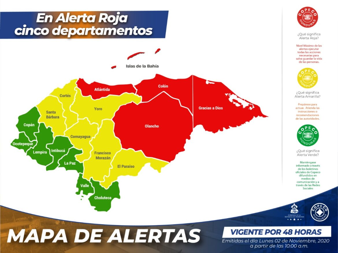 Huracán ETA: En Alerta Roja cinco departamentos