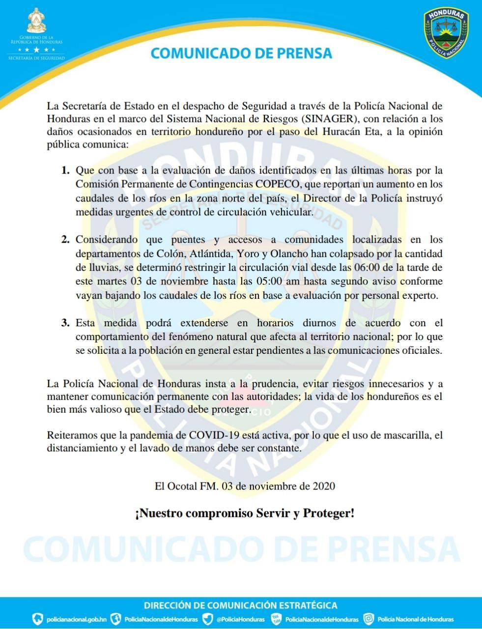 COPECO restringe circulación vial en Colón, Atlantida, Yoro y Olancho