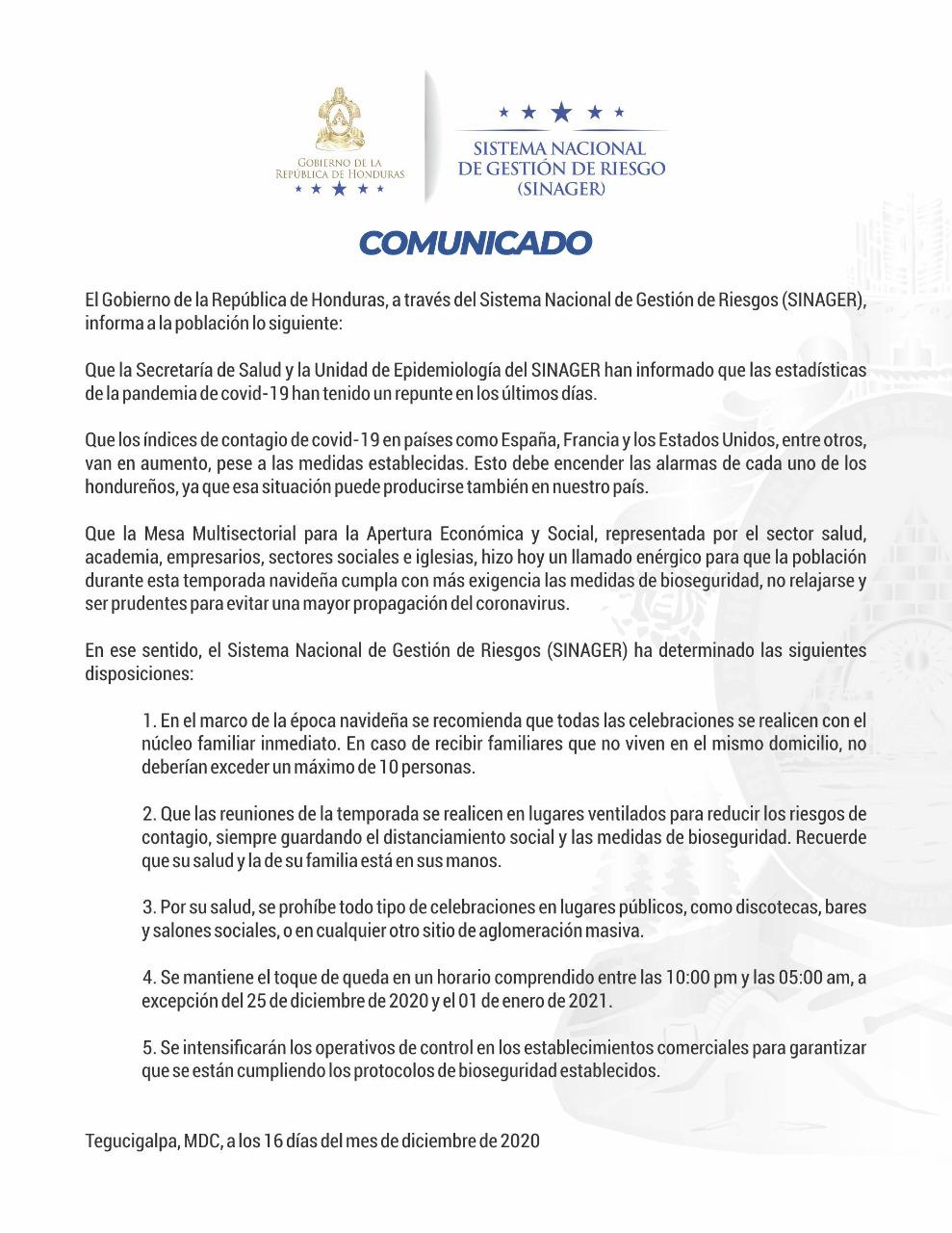 SINAGER anuncia recomendaciones y prohibiciones en fiestas navideñas ante aumento de casos de covid-19