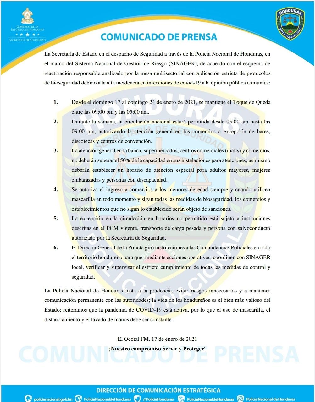 SINAGER autoriza ingreso de infantes al  comercio en Honduras