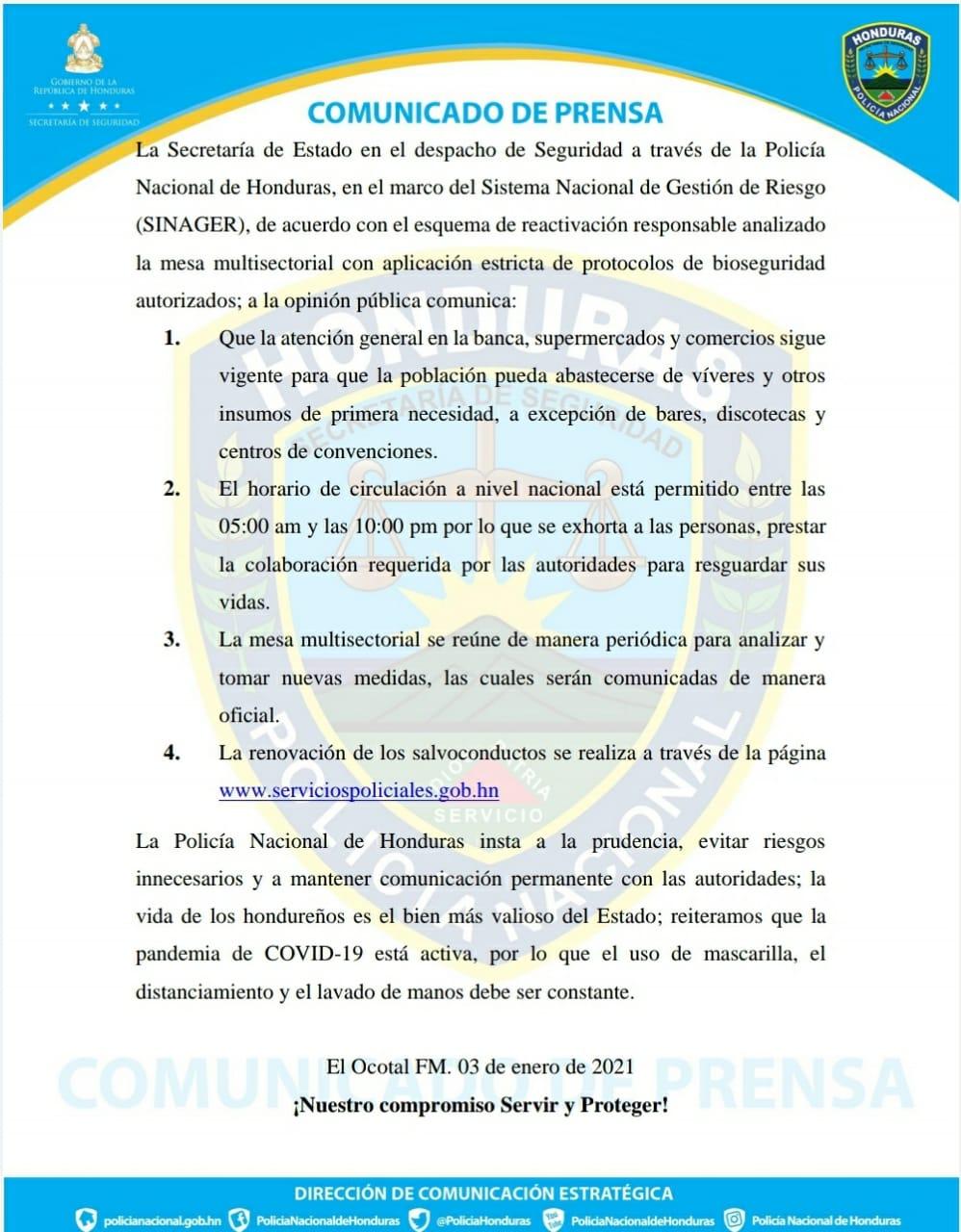 Disposiciones para circulación en Honduras