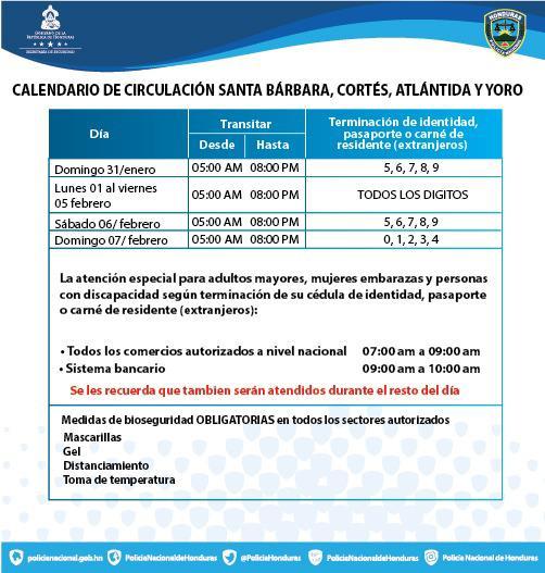 Conozca el calendario de circulación en Santa Bárbara, Cortés, Atlántida y Yoro