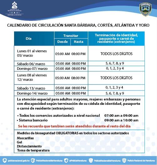 Continúa la restricciones para los departamentos de Santa Bárbara, Cortés, Atlántida y Yoro