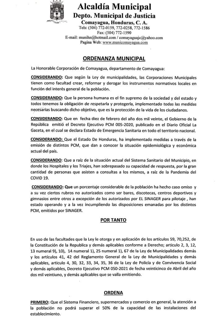 Aplican en Comayagua restricciones para reducir contagios  de COVID-19